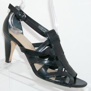 Via Spiga black leather t-strap sandal heels 5.5M